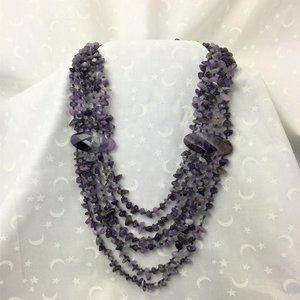 Amazing Six Strand Amethyst Stone Necklace
